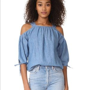 Madewell chambray off the shoulder top size xsmall